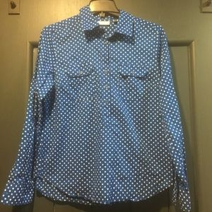 NY&Co Royal Blue & White Polka Dot 1/2 Button Down